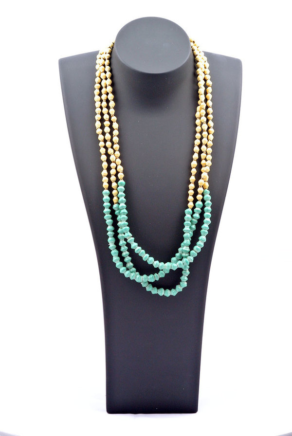 Pearl Necklace mint & beige