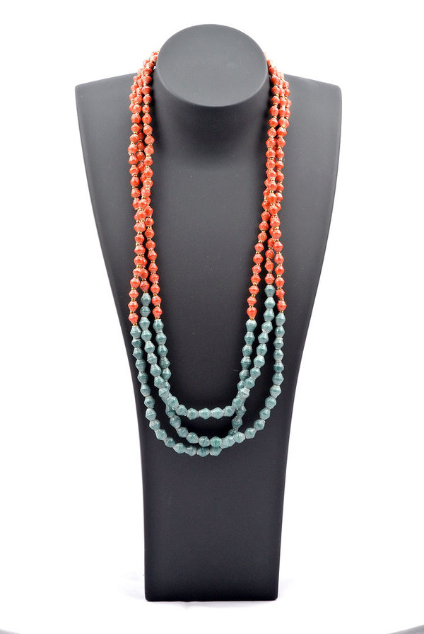 Pearl Necklace petrol & orange peru
